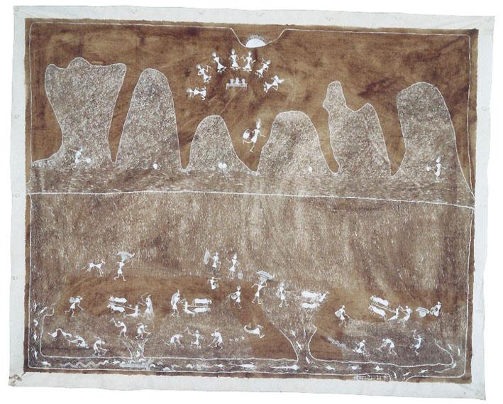 Jivya Soma Mashe, Untitled, 1997, acrylic and cowdung on canvas, 100x125 cm