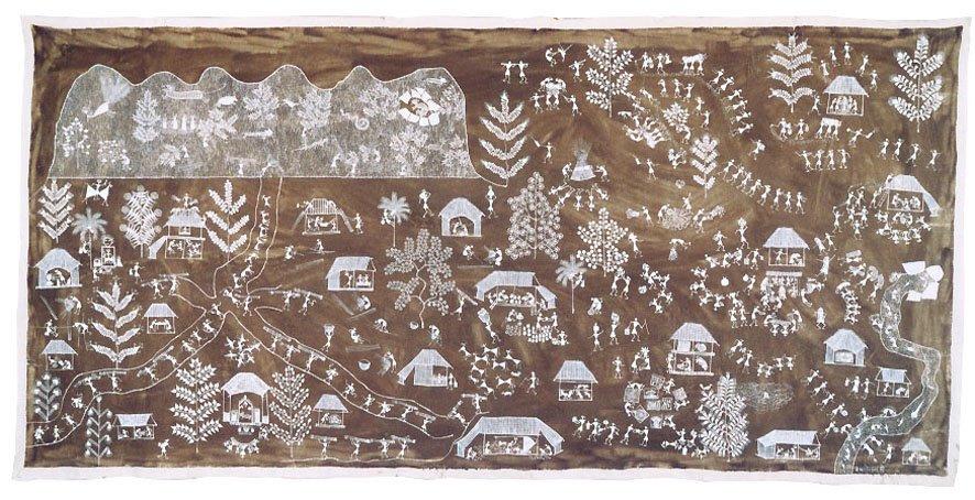 Jivya Soma Mashe, Untitled, 1999, acrylic and cowdung on canvas, 138x290 cm