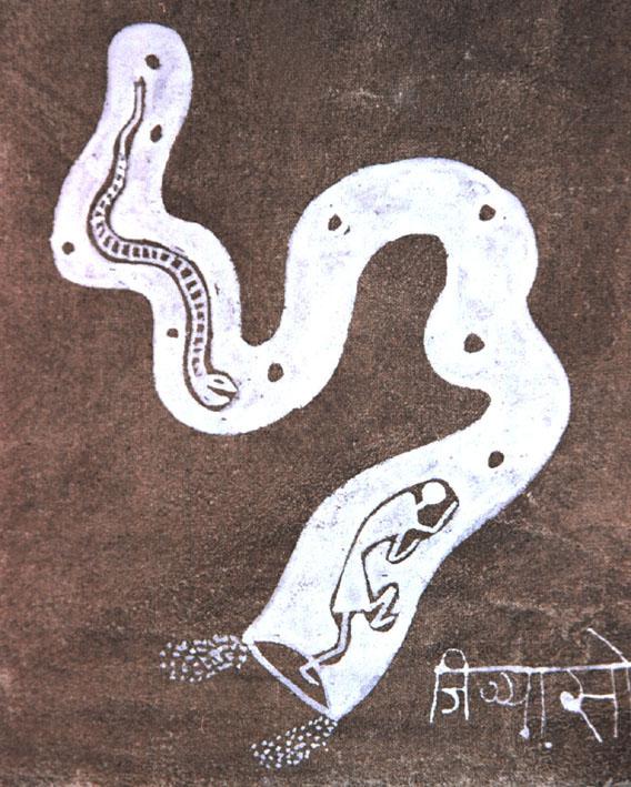 Jivya Soma Mashe, acrylic and cowdung on canvas, detail