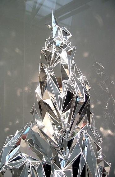 Justine Khamara, You are a glorious, desolate prospect, 2010, Mirrored acrylic, ridged polyurethane, perspex, plinth, 80 x 80 x 186 cm
