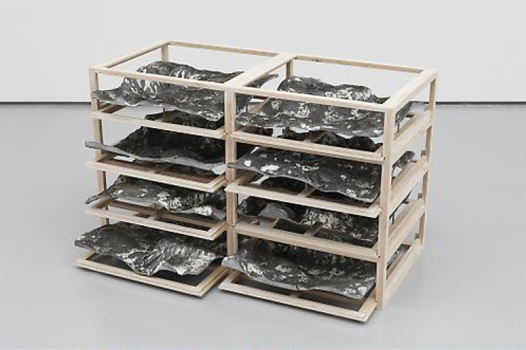Katrín Sigurdardóttir, Untitled 1-3, 2009, Wood, resin, pigments, steel, epoxy, 53.3 x 83.8 x 38.1 cm