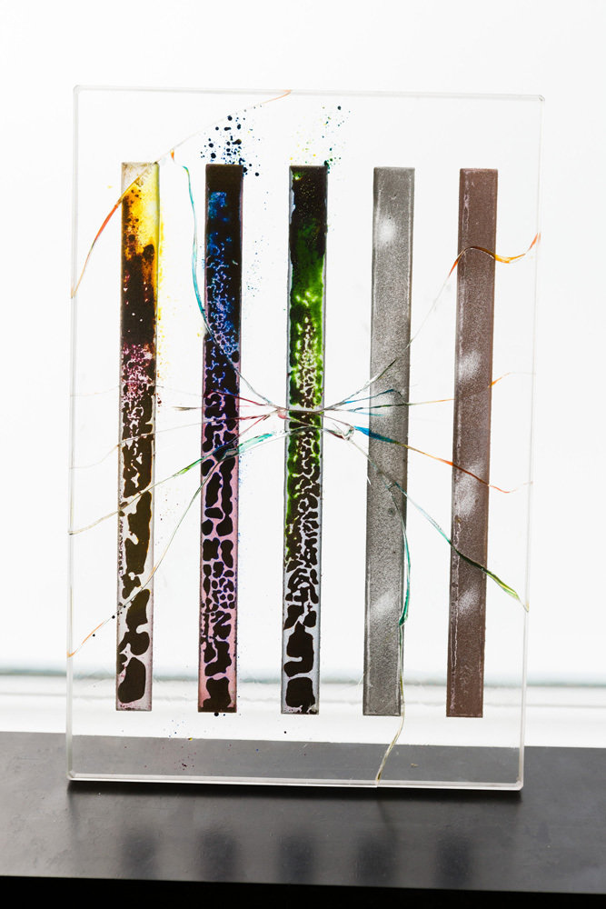 Kerstin Brätsch, Die namen die linien, 2012, Enamel and lustre on sandblasted artista glass with colored UV glue