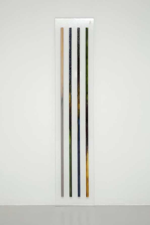 Kerstin Brätsch, Skeleton Steles #8 (L7-III from Blocked Radiants for Ioana), 2012, Sandblasted Artista glass, luster and enamel, 200 x 40 x 1 cm