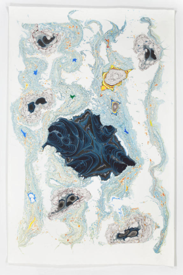 Kerstin Brätsch, Unstable Talismanic Rendering 28 (with gratitude to master marbler Dirk Lange), 2014, Ink and solvent on paper, 278,1 x 182,9 cm