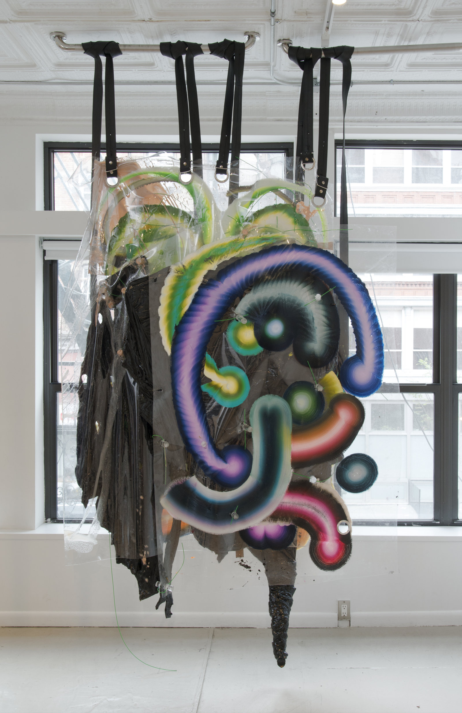 Kerstin Brätsch and Debo Eilers, S is for Sissy, 2013, Bodybag Meo, installation view KAYA III, 47 Canal