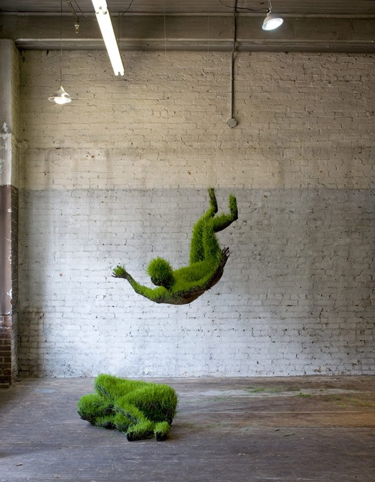 Mathilde Roussel, 25.08.79#1 and 25.08.79#2, soil, wheat seeds, recycled metal, fabric. The Invisible Dog Art Center, NY, 2010