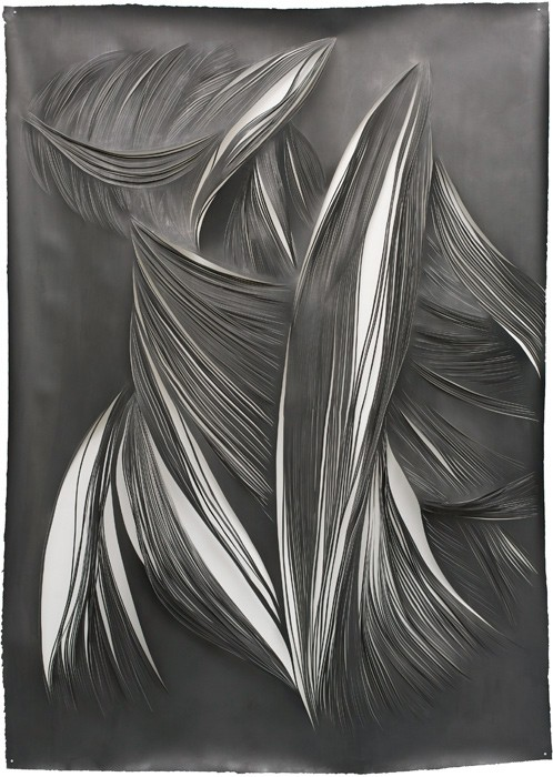 Mathilde Roussel, L.A.D.T.#1, 2013, cut paper and graphite, 160x120cm