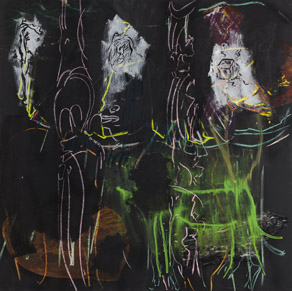 Per Kirkeby, Untitled (Aksel Jørgensen), 2010, mixed media on blackboard, 122 cm x 122 cm