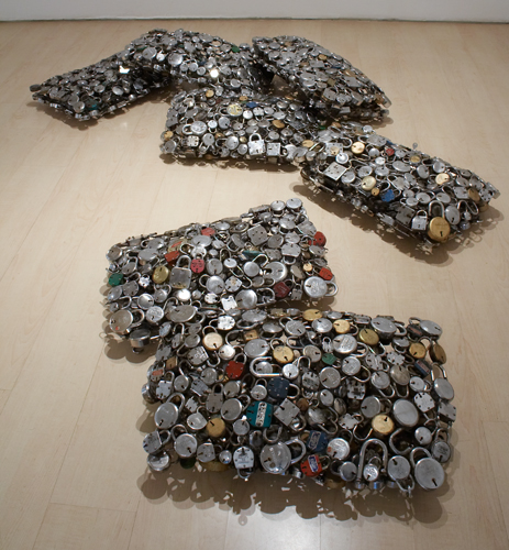 Sakshi Gupta, Nothing is Freedom, 2007, metal (old locks), 73cm x 45cm x 20cm each pillow