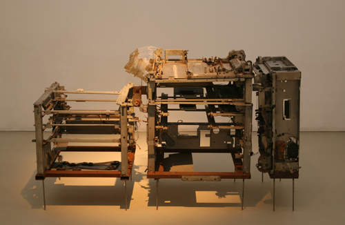 Sakshi Gupta, Untitled, 2008, metal scrap, gears, motors, 163cm x 60cm x 88cm
