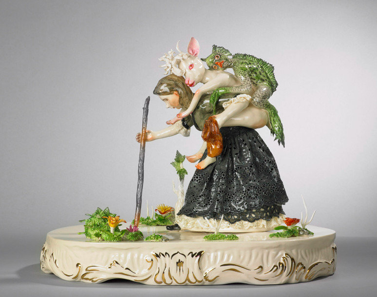Shary Boyle, Burden I, 2009, porcelain, china paint, luster, 30 x 36 x 36 cm