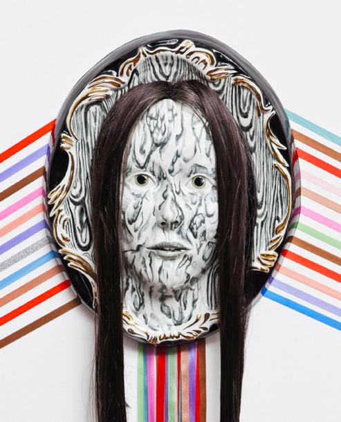 Shary Boyle, Canadian Artist (detail), 2012, plaster, goldleaf, ribbon, porcelain, hair