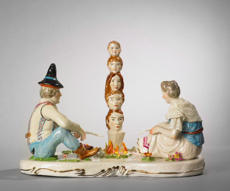 Shary Boyle, Family, 2010, porcelain, china paint, luster, 26 x 36 x 20 cm