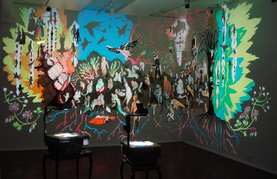 Shary Boyle, The Clearances and Skirmish at Bloody Point, 2007, acrylic and gouache on paper, gold foil on card, collage, acetate, thread, and 3 projectors