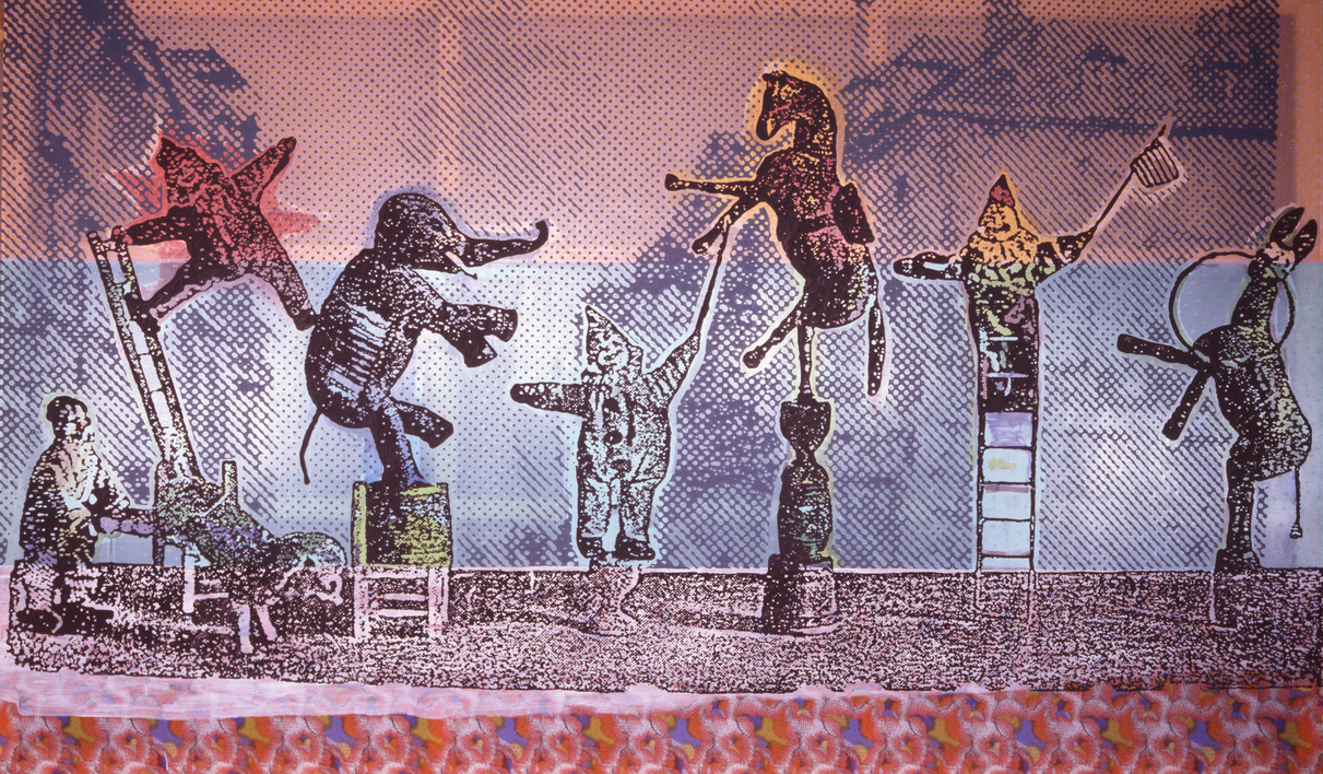 Sigmar Polke, Circus Figures, 2005, Mixed media on fabric, 300 x 500 cm