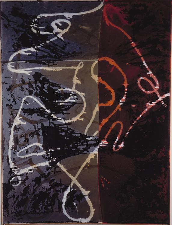 Sigmar Polke, Neue Schleifen, 1988, Enamel, dispersion on fabric, 300 x 225 cm
