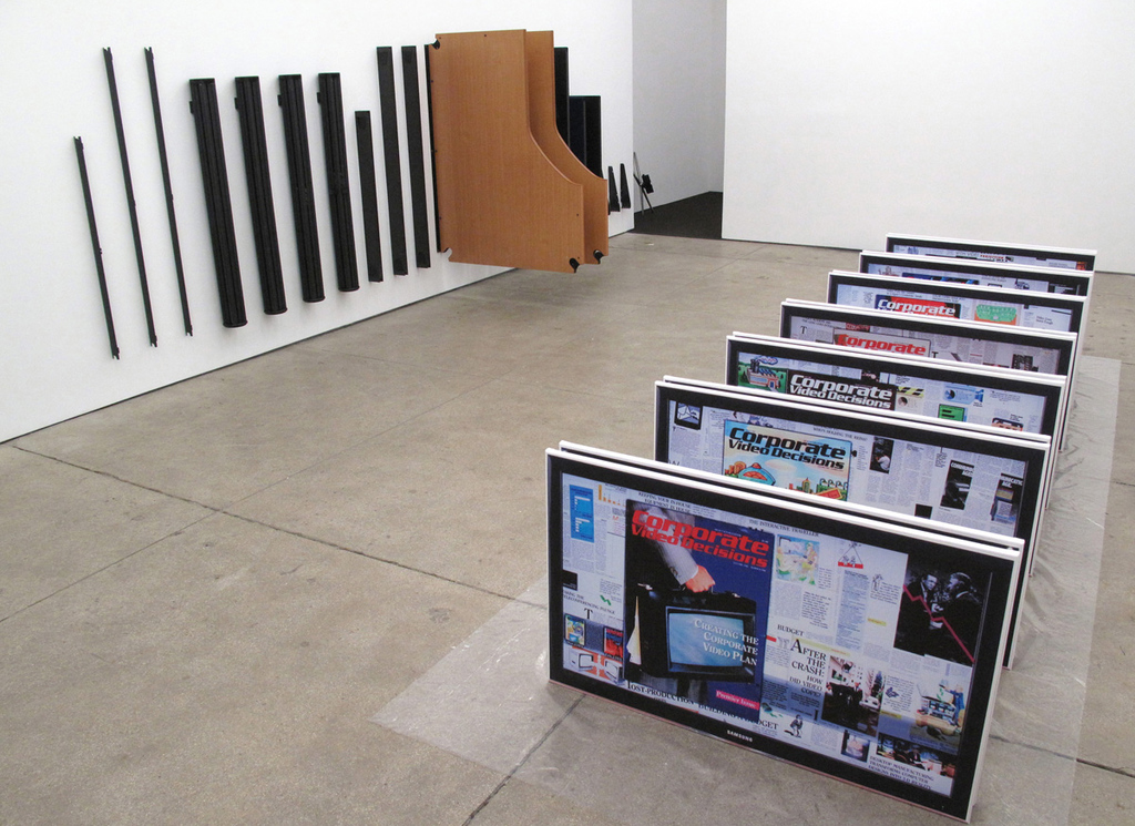 Simon Denny, Corporate Video Decisions, 2011, Installation at Friedrich Petzel Gallery, New York