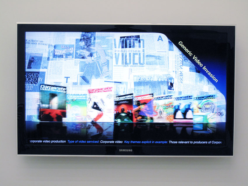 Simon Denny, Corporate Video Decisions Archive Interface Design, 2011, HD video on USB stick playing on Samsung LN46C750 46-Inch 1080p 3D LCD HDTV (BLACK). Duration 1 min 44 sec