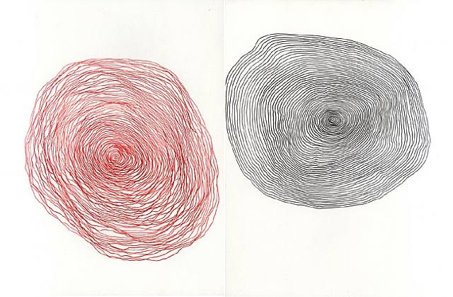 Space time 2, 2003. Ink on paper (two pieces),