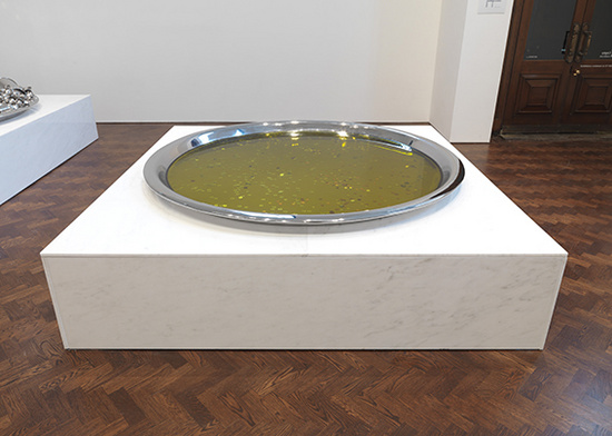 Subodh Gupta, A Penny for Belief II, 2009, stainless steel, oil, coins,