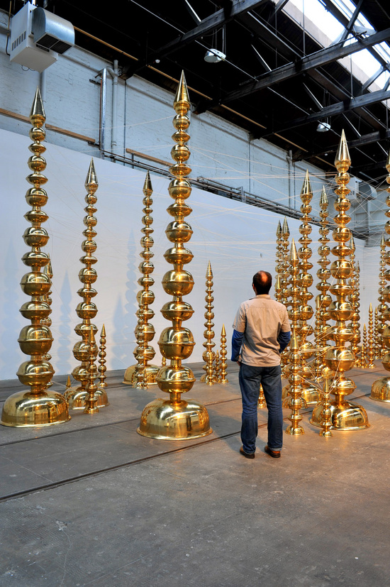 Subodh Gupta, Installation view, Take Off Your Shoes and Wash Your Hands, Tramway, Glasgow, Scotland