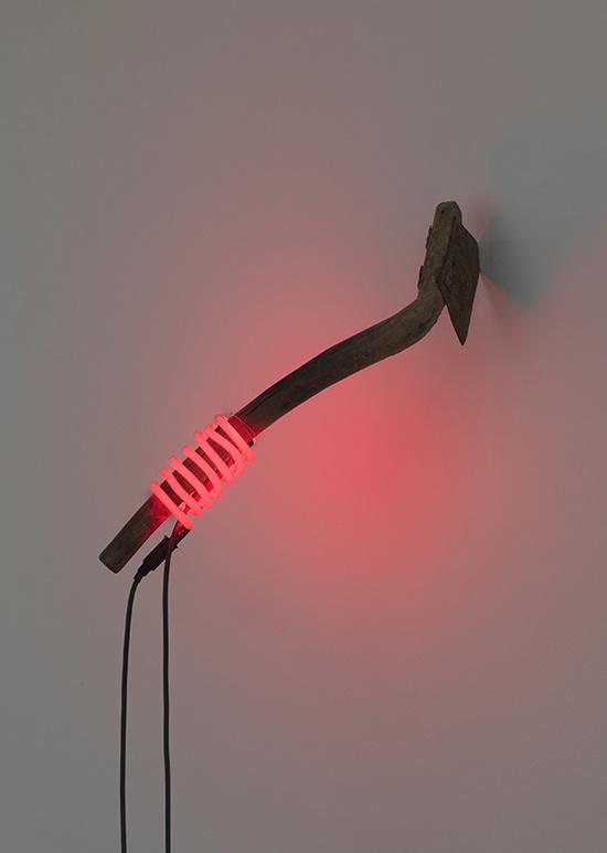 Subodh Gupta, Red, 2009, old axe, neon,