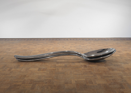 Subodh Gupta, Spooning, 2009, stainless steel, 2 pieces (nestling),