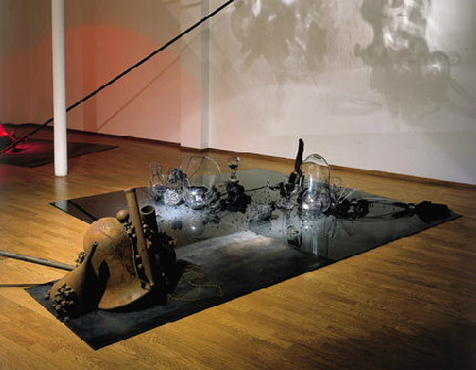 Tunga, Lucido nigredo et son ombre intra, 2001, mixed media (bronze, iron, glass, magnets)