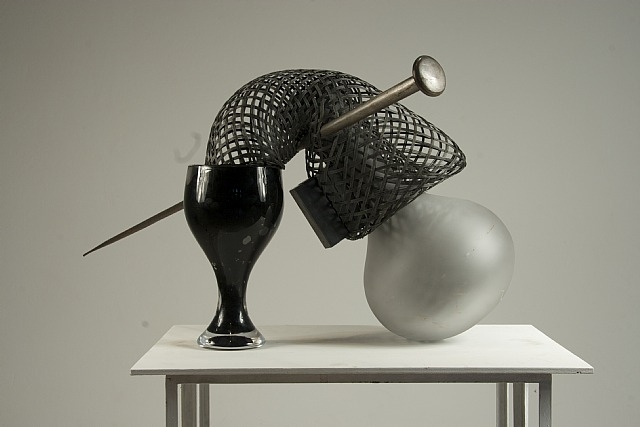 Tunga, Untitled, 1999-2008, cast glass magnet, steel wire, rubber