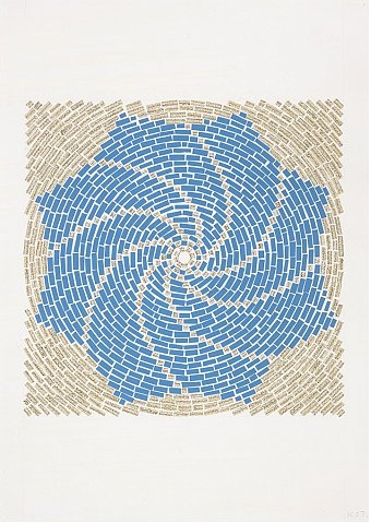 Y.Z. Kami, Endless Prayers II, 2007, mixed media on paper, 106.7 x 75.6 cm