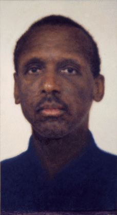 Y.Z. Kami, Untitled (Black man, navy shirt), 1999, oil on linen
