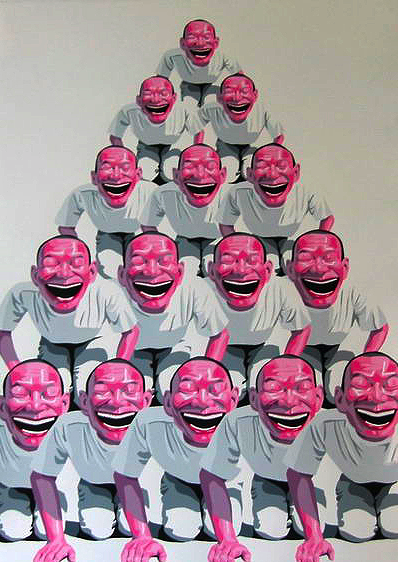 Yue Minjun, A Pyramid, 1996