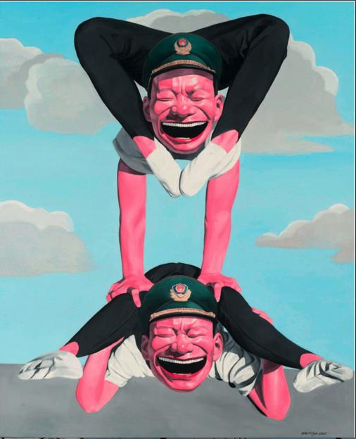 Yue Minjun, Hat Series- Acrobatics, 2005