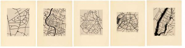 Zarina Hashmi, Cities I Called Home, set of 5 engravings, blocked of engraved black wood on Nepalese handmade paper mounted on cream Arches paper, 66 x 50.8 cm
