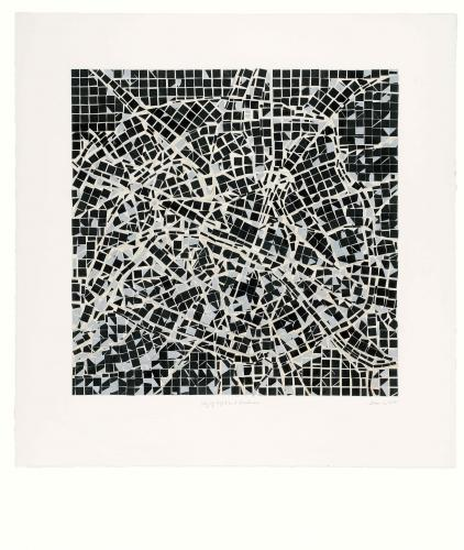 Zarina Hashmi, City of Light and Darkness, mosaic of silkscreens on paper, mounted on white Arches paper, 67.9 x 69.9 cm