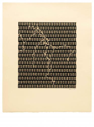 Zarina Hashmi, Wrapping the Travels, woven strips of prints and text, 61 x 50.8 cm