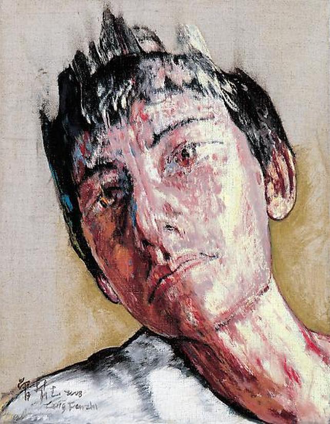 Zeng Fanzhi, Portrait 08-12-3, 2008, Oil on canvas, 35,5 x 27,5 cm