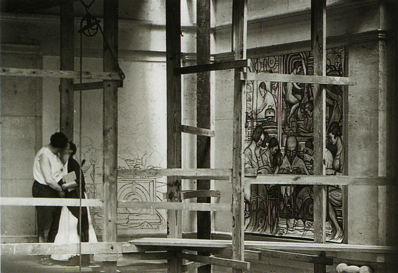 Diego Rivera y Frida Kahlo en Detroit. 1932