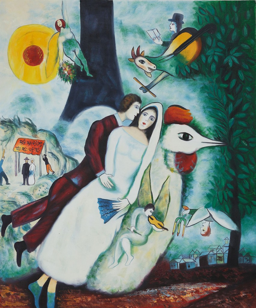 "Marc Chagall, ""The Bridal Pair With The Eiffel Tower""."