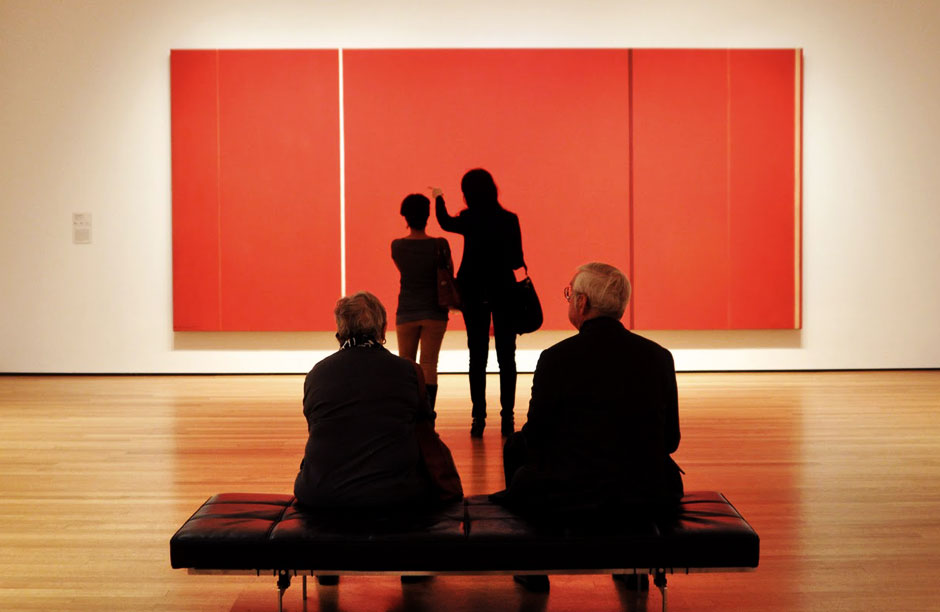 "People taking in Barnett Newman's ""The Voice"" [1950]"