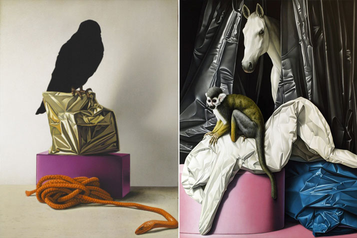 Left: Eckart Hahn, Nighthawk, 2013. Acrylic on canvas, 70 x 50 cm. Photo courtesy of Wagner + Partner Berlin. Right: Eckart Hahn, ALB, 2012. Acrylic on canvas, 200 x 150 cm. Photo courtesy of Wagner + Partner Berlin.