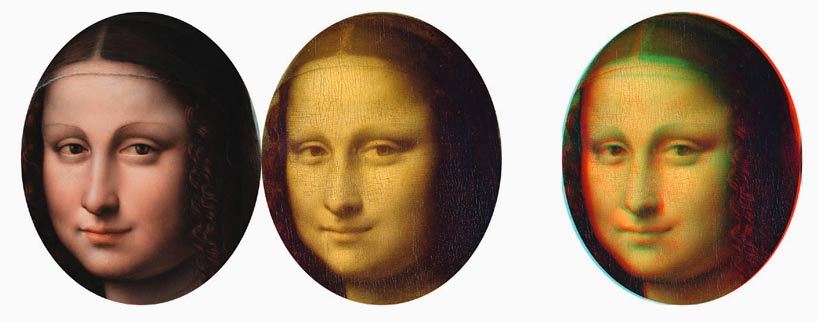Left to right: Prado version, Louvre version, red–cyan anaglyph combining both images
