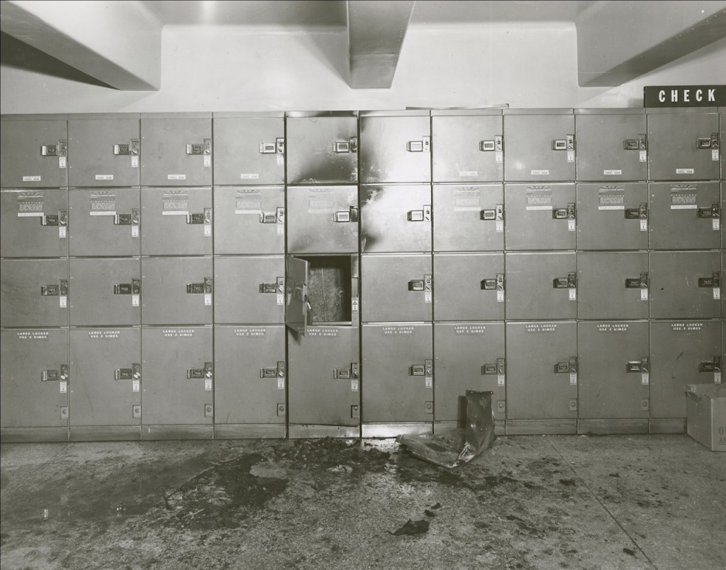 "Aftermath of a pipe bomb explosion in Pennsylvania Station (March 1955). It was later linked to ""Mad Bomber"" George S. Metesky, who operated for 16 years in NYC. (courtesy New York City Municipal Archives)"