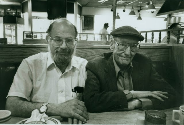 [Allen Ginsberg and William Burroughs, Lawrence, KS, May 31, 1991. Photo probably snapped by James Grauerholz. c. Allen Ginsberg Estate]
