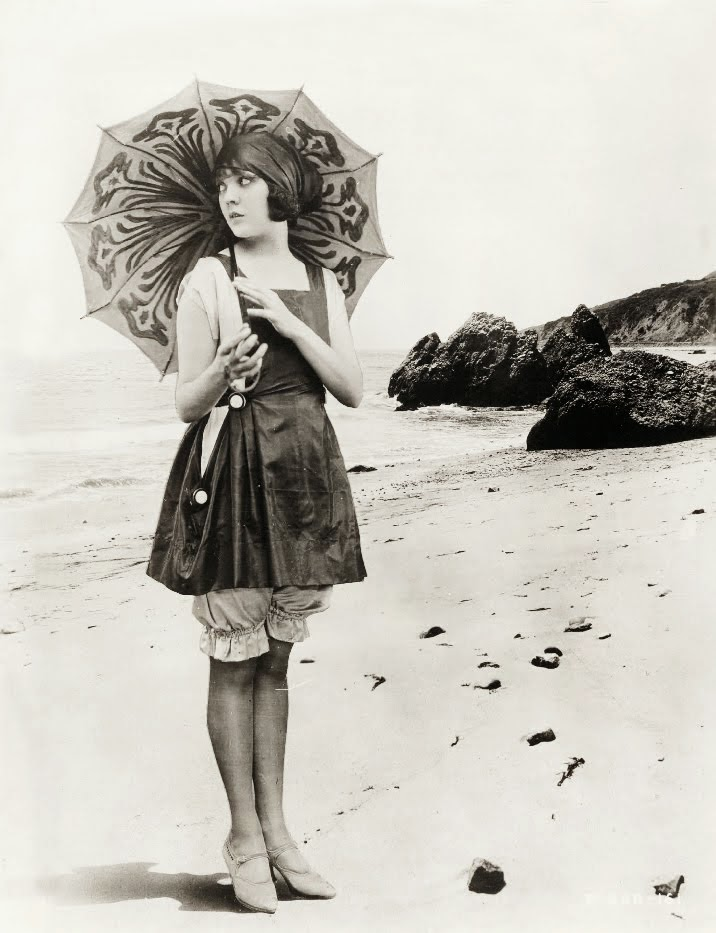 Lila Lee at the beach, ca. 1920s.