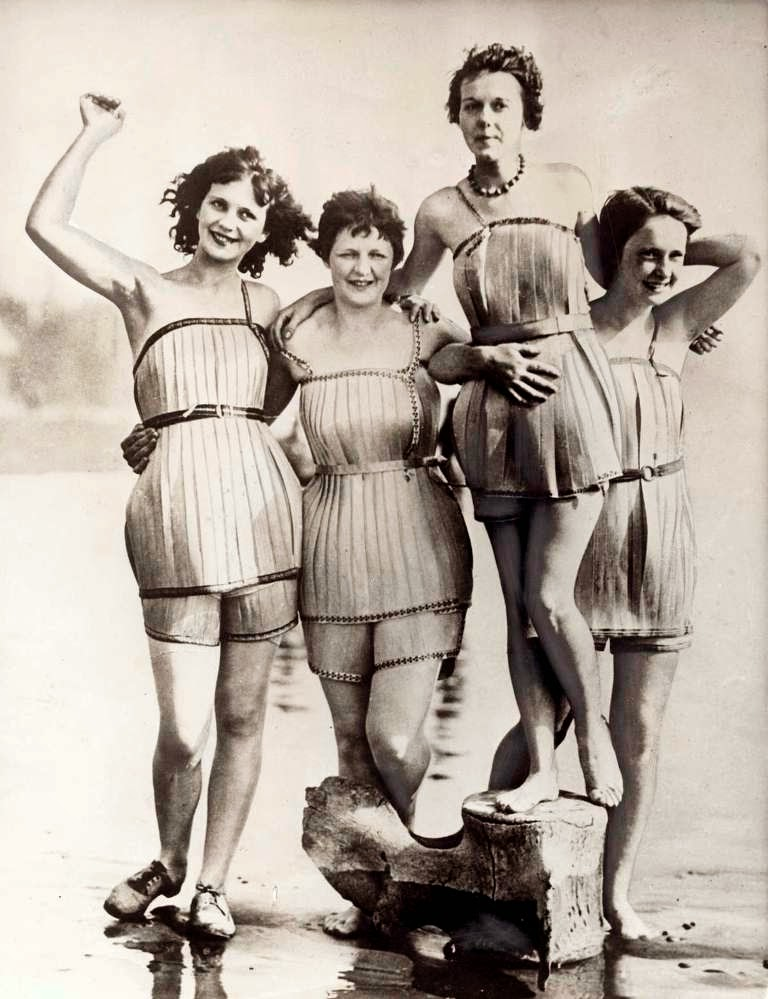 Bathing suits made of wood, Hoquiam, Washington, 1929.