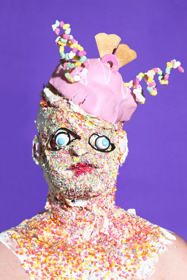 playful portraits of people wearing masks made out of food