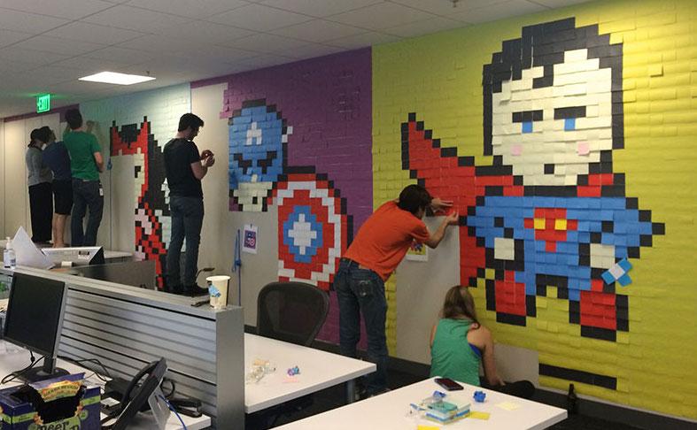 Creative Office Walls Reception Creative Agency Staff Installs Superhero Murals On Their Office Walls Artsheep Artsheep Creative Agency Staff Installs Superhero Murals On Their Office