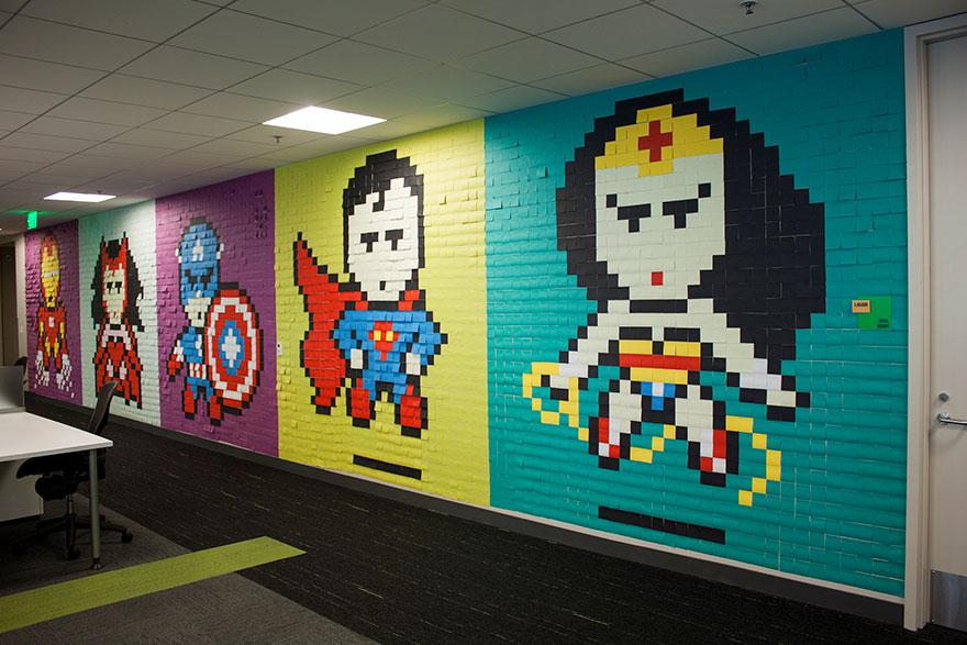 office-wall-post-it-art-superheroes-ben-brucker-24