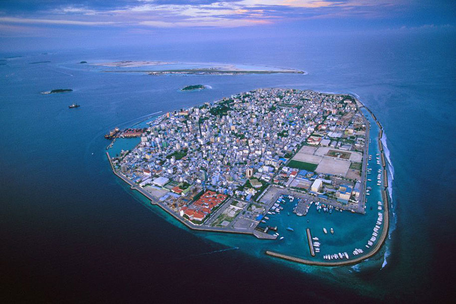 The rising water levels will engulf Maldives in the Indian Ocean by 2050.
